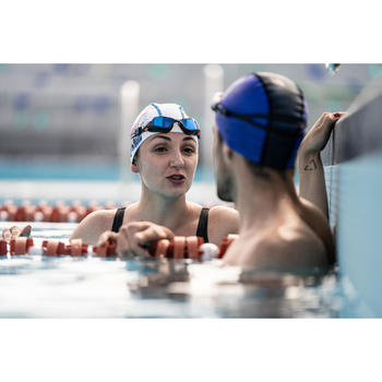 Zwembril 500 Spirit maat S oranje/blauw spiegelglazen
