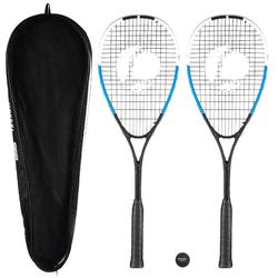 SET DE SQUASH SR130 COMPOSE DE 2 RAQUETTES SR 130 ET 1 BALLE SB560 POINT ROUGE