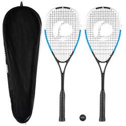 Set 2 Raquetas Squash Opfeel SR130 Adulto Negro/Azul y Pelota SB560 Punto Rojo