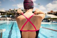 TRAJE BAÑO Natación Alberca Nabaiji Jade Mujer Espalda X Escotado Azul Rosa