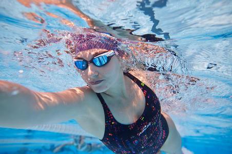 Lunettes de natation 500 Spirit Taille P verres miroir orange bleu
