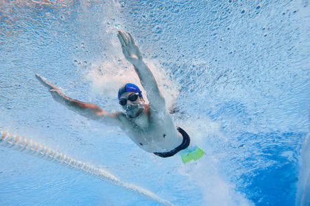 Lunettes de natation 500 SPIRIT Taille G verres fumés orange bleu