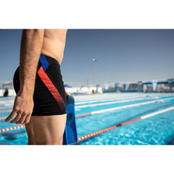 MAILLOT DE BAIN NATATION HOMME BOXER LONG 500 NOIR LAYO ORANGE