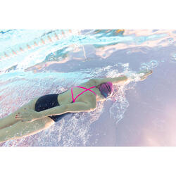 Bañador Natación Piscina Nabaiji Jade Mujer Forma Espalda X Escotado Azul Rosa