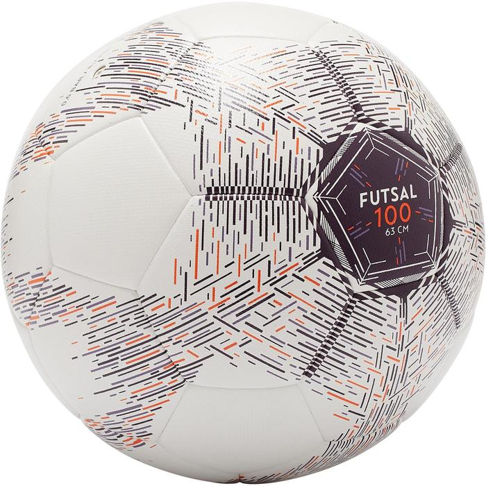 Zaalvoetbal 100 Hybride 63 cm wit
