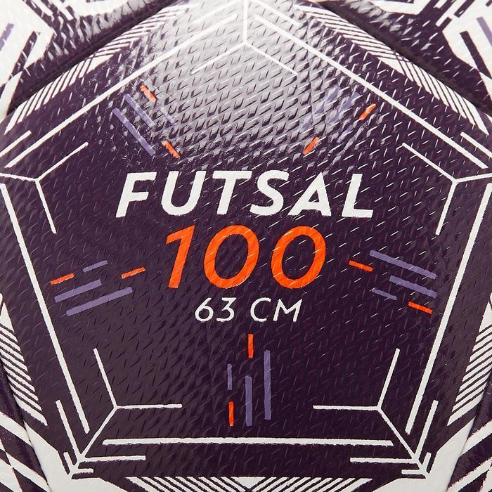 Bal voor zaalvoetbal 100 Hybride 63 cm wit