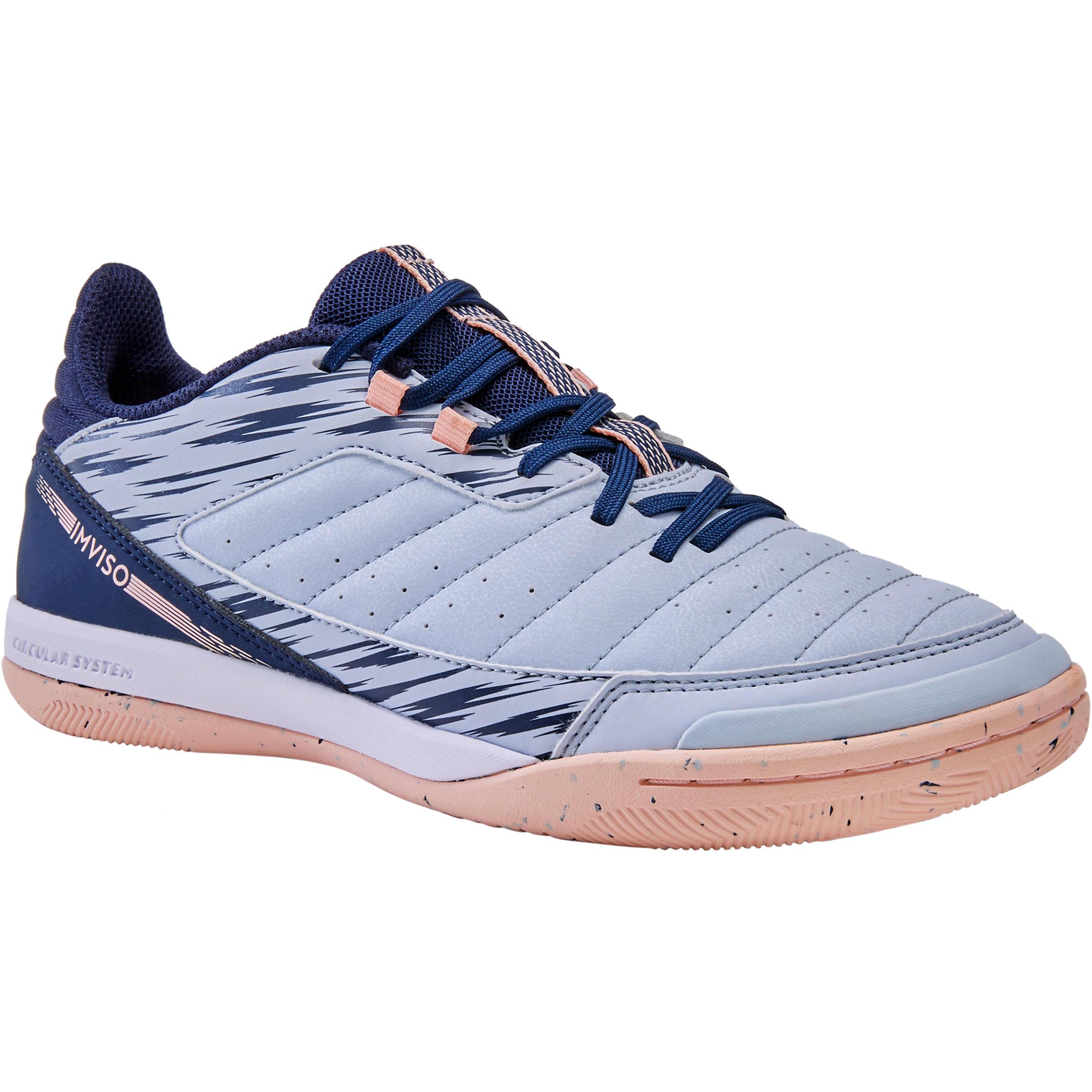 Hallenschuhe Futsal Eskudo 500 IN Kunstleder Damen grau/rosa | Schuhe > Sportschuhe > Hallenschuhe | Grau - Blau - Rosa | Imviso