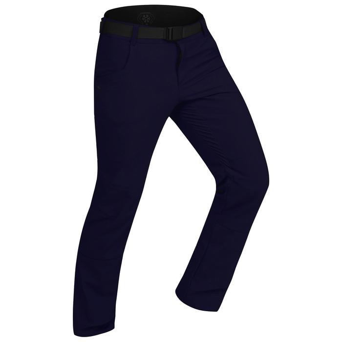 男款超保暖雪地健行長褲SH500-深藍色。