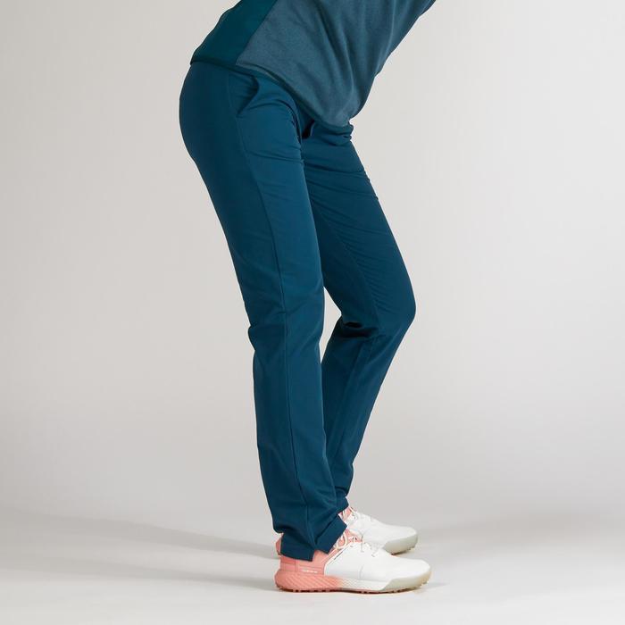 Golfbroek voor dames koud weer donker petroleumblauw