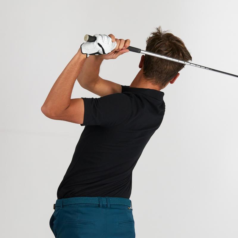 เสื้อโปโลแขนสั้นผู้ชายสำหรับใส่เล่นกอล์ฟ (สีดำ)