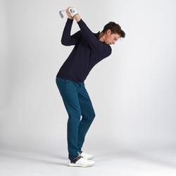 男款溫和氣候防風高爾夫立領針織衫-刷色藍
