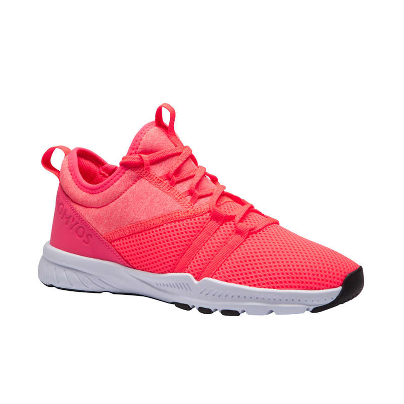 FITNESS SHOES Fitness and Gym - MID 120 Women's Shoes - Pink DOMYOS - Gym Activewear
