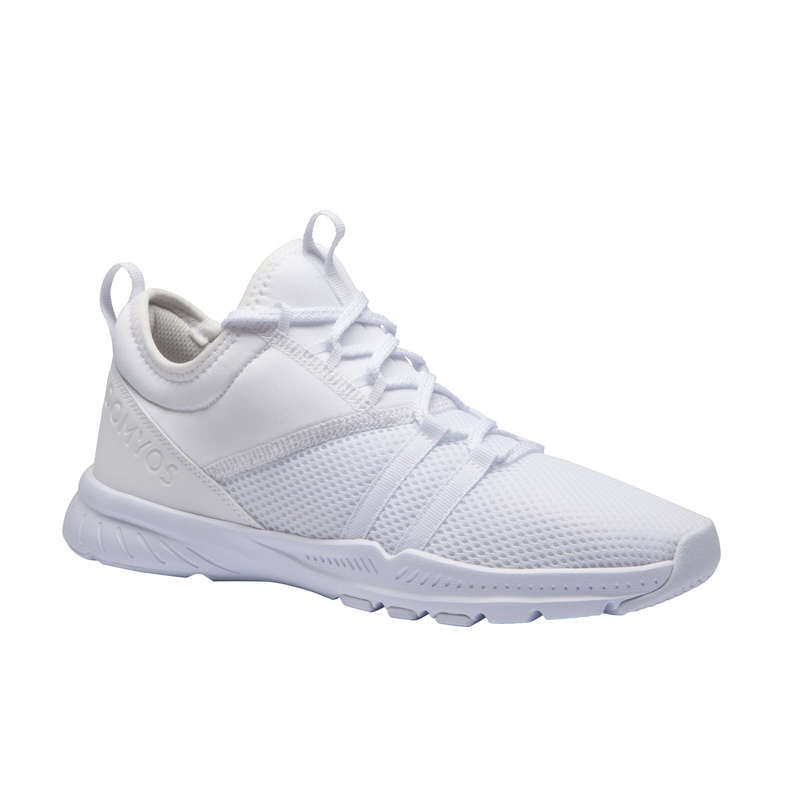 FITNESS SHOES Fitness and Gym - MID 120 Women's Shoes - White DOMYOS - Gym Activewear
