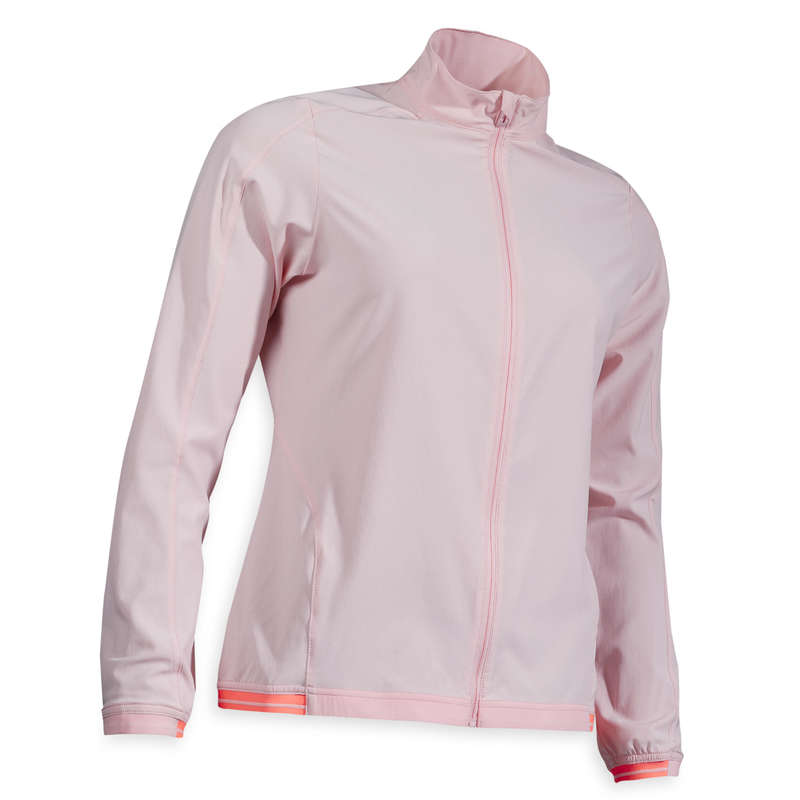 ODZIEŻ DO GOLFA DAMSKA PRZECIWDESZCZOWA Golf - Bluza wiatroszczelna różowa INESIS - Odzież i obuwie do golfa