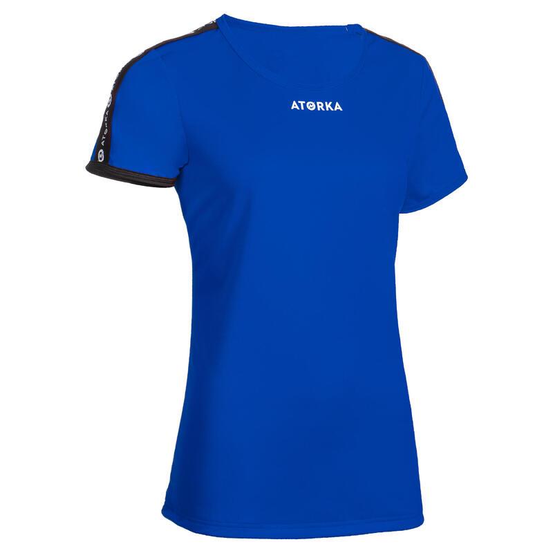 Maillot manches courtes de handball femme H100C bleu foncé