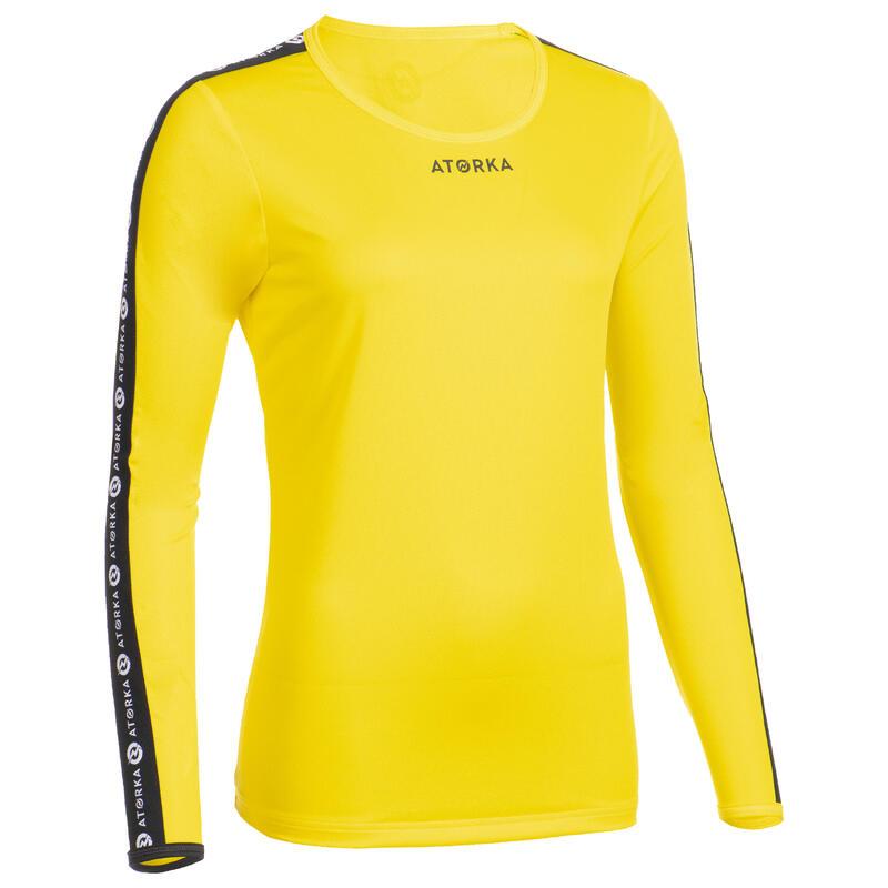 Maillot manche longue de handball femme H100C jaune
