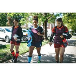 Rugbytrikot R500 Damen lila/marineblau