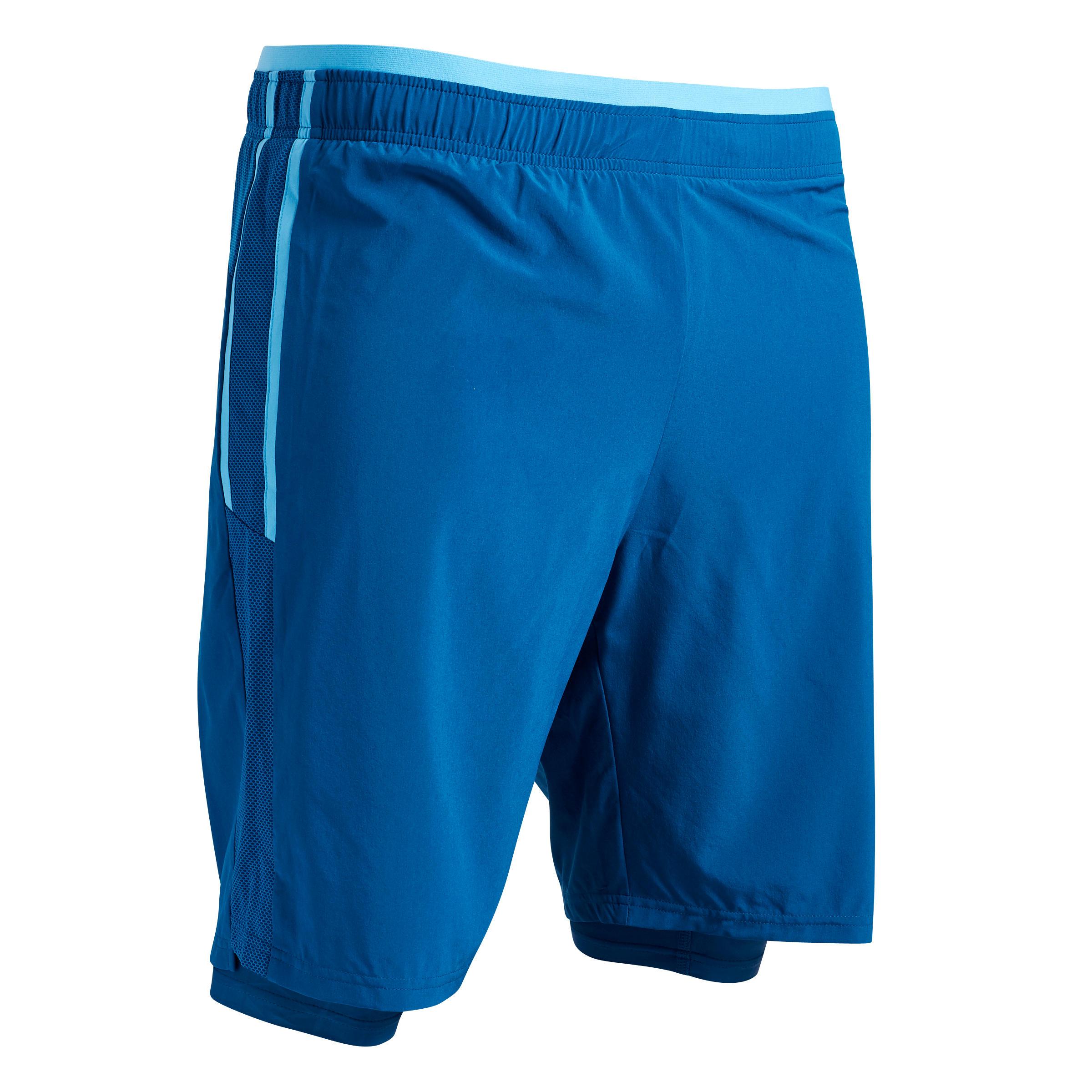 Fußballshorts 3-in-1 F540 Erwachsene blau   Sportbekleidung > Sporthosen > Fußballhosen   Kipsta