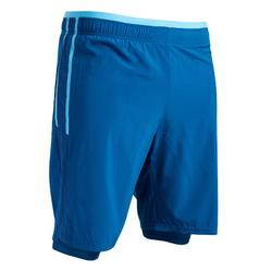Short de football adulte 3 en 1 F540 bleu de prusse