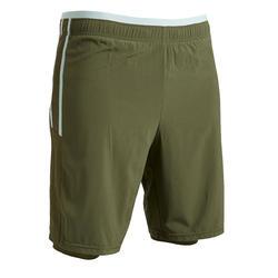 Pantalón Corto de fútbol Kipsta F540 3 en 1 adulto caqui