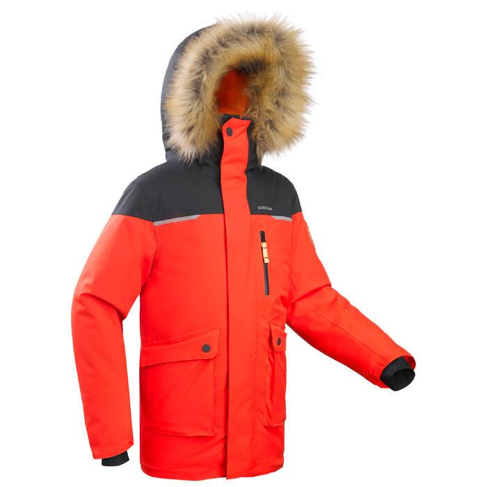 Parka chaude imperméable de randonnée enfant SH500 U-Warm garçon 7-15 ans rouge.