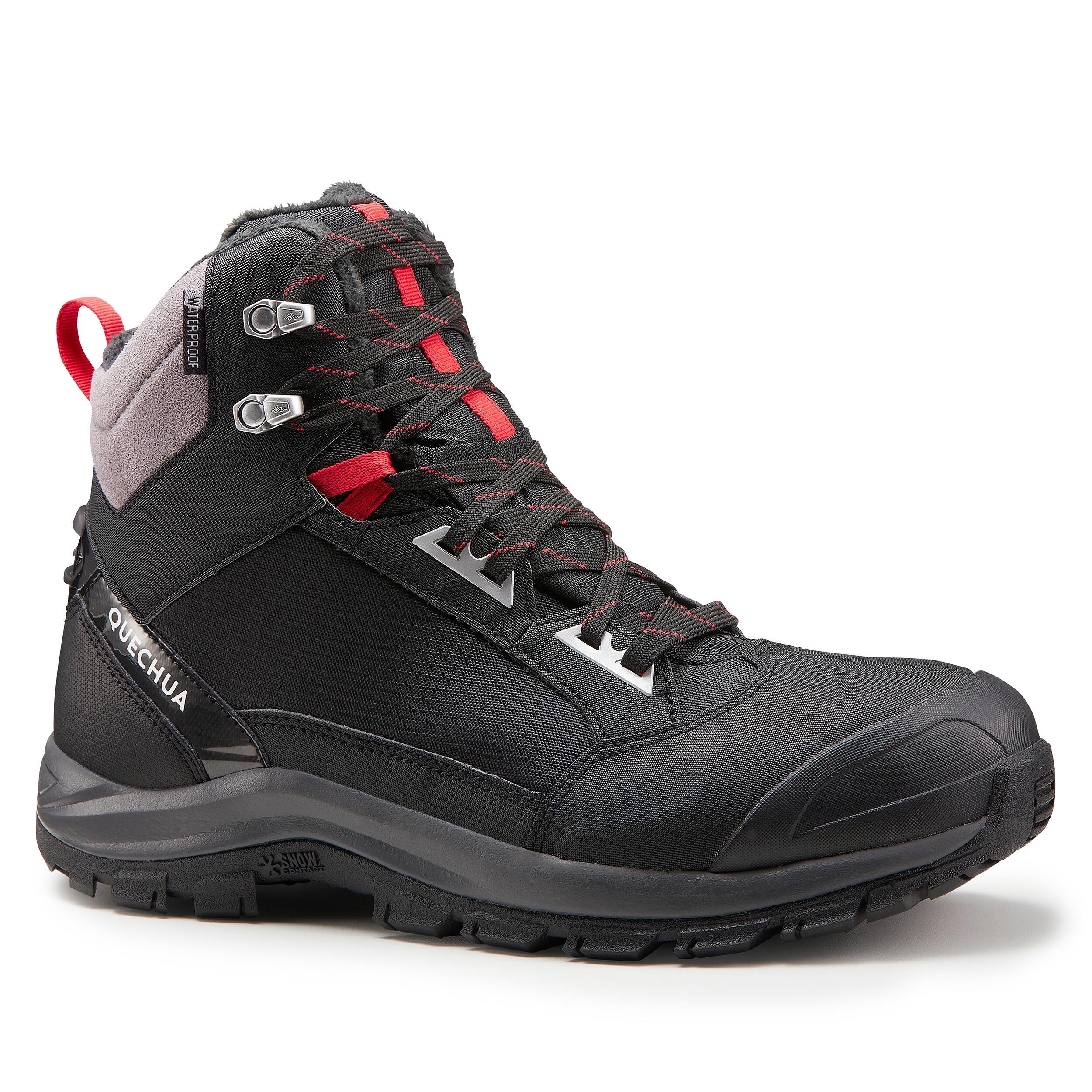 x-warm mid black snow hiking boots