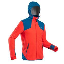 男款超保暖雪地健行刷毛外套SH500-紅色/藍色