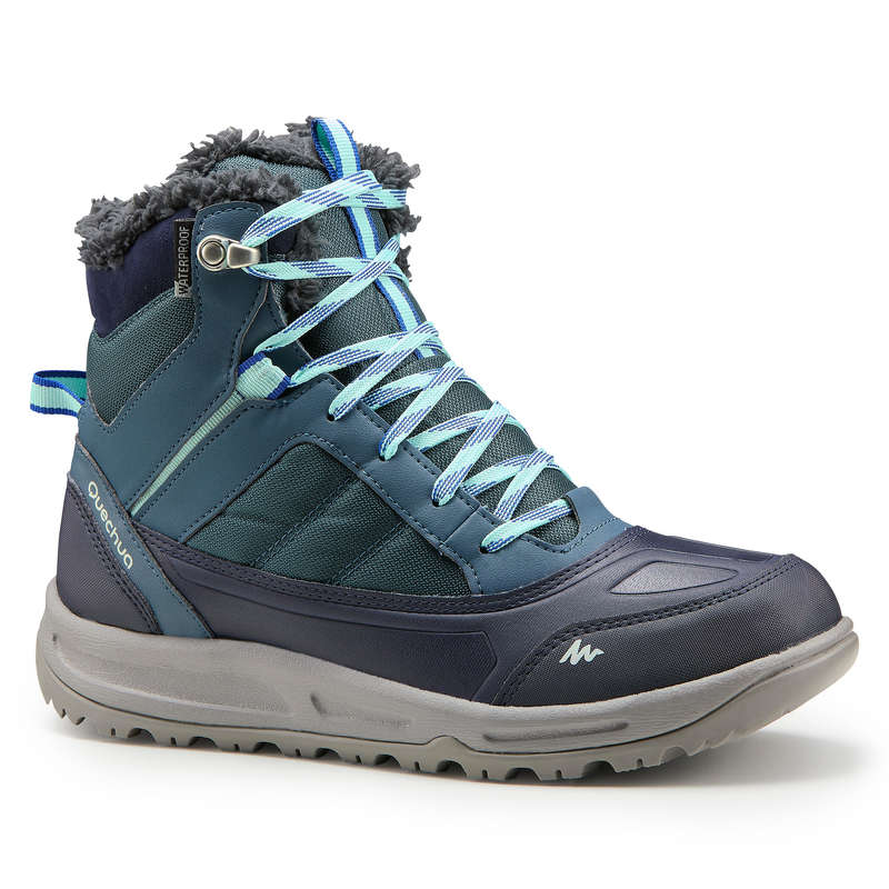 WOMEN SNOW HIKING WARM SHOES Hiking - W WARM MID BOOTS SH120 - BLUE QUECHUA - Outdoor Shoes