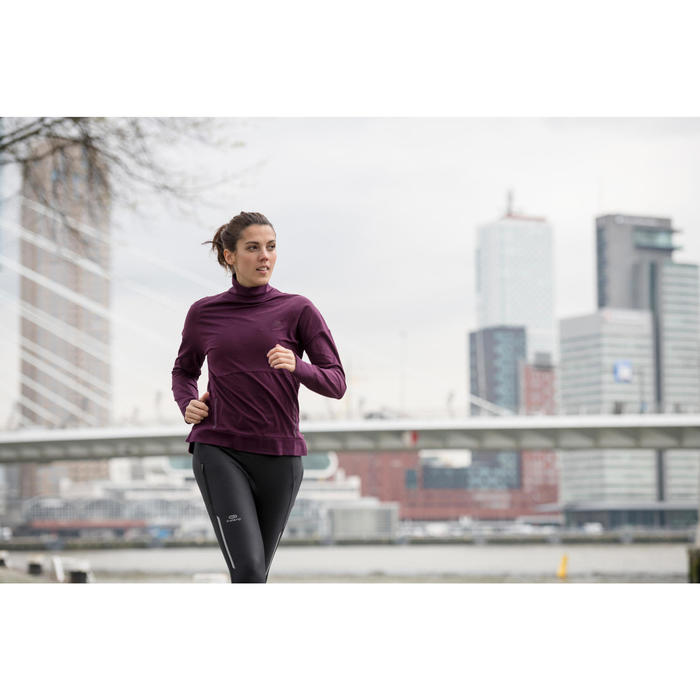Laufshirt langarm Run Dry Plus Damen pflaume
