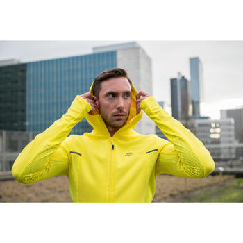 Veste jogging homme RUN WARM+ jaune