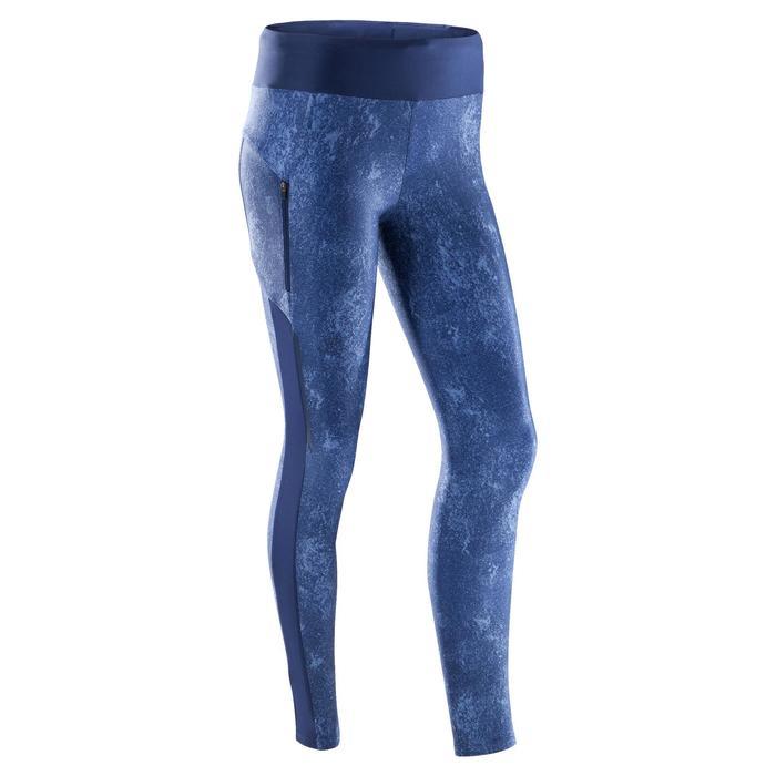 女款慢跑緊身褲Run Dry+ - 藍色
