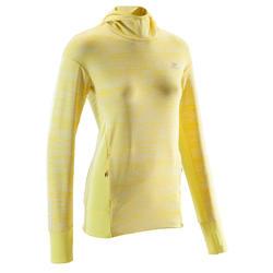 Hoodie voor hardlopen dames Run Warm geel