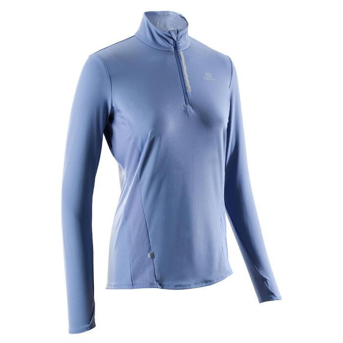 Hardloopshirt voor dames Run Dry+ met lange mouwen en rits blauw