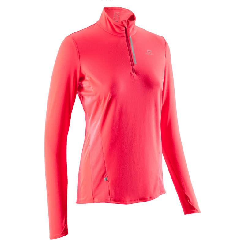 ABBIGLIAMENTO TRASPIRANTE DONNA Running, Trail, Atletica - Maglia donna RUN DRY+ ZIP rosa KALENJI - Abbigliamento Running