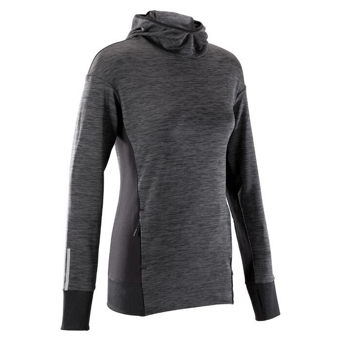 Hoodie voor hardlopen dames Run Warm zwart