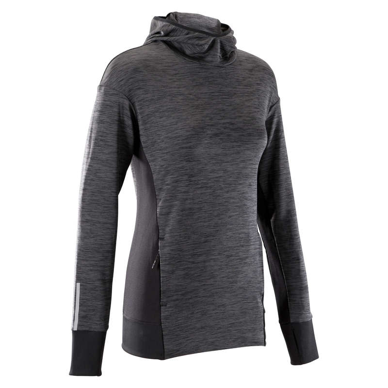 REGULAR WOMAN JOG COLD WEATHER CLOTHES Clothing - RUN WARM HOODED WOMEN'S JERSEY KALENJI - Tops