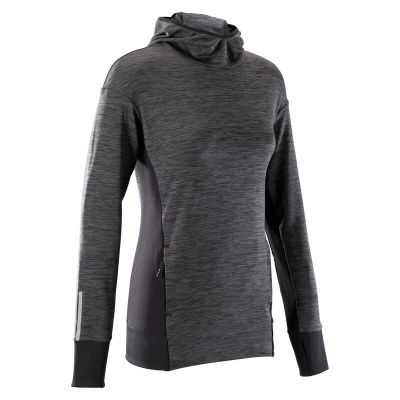 DÁMSKÉ OBLEČENÍ NA JOGGING, CHLADNÉ POČASÍ Běh - MIKINA RUN WARM ČERNÁ  KALENJI - Běžecké oblečení