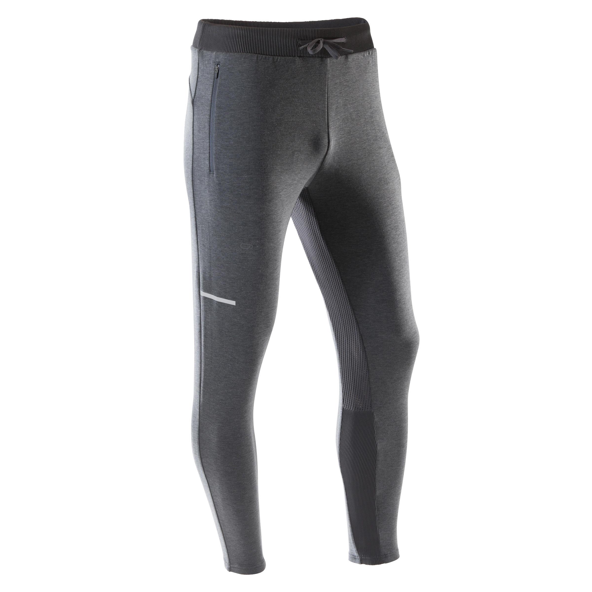 Pantalon de jogging homme run warm gris chiné kalenji