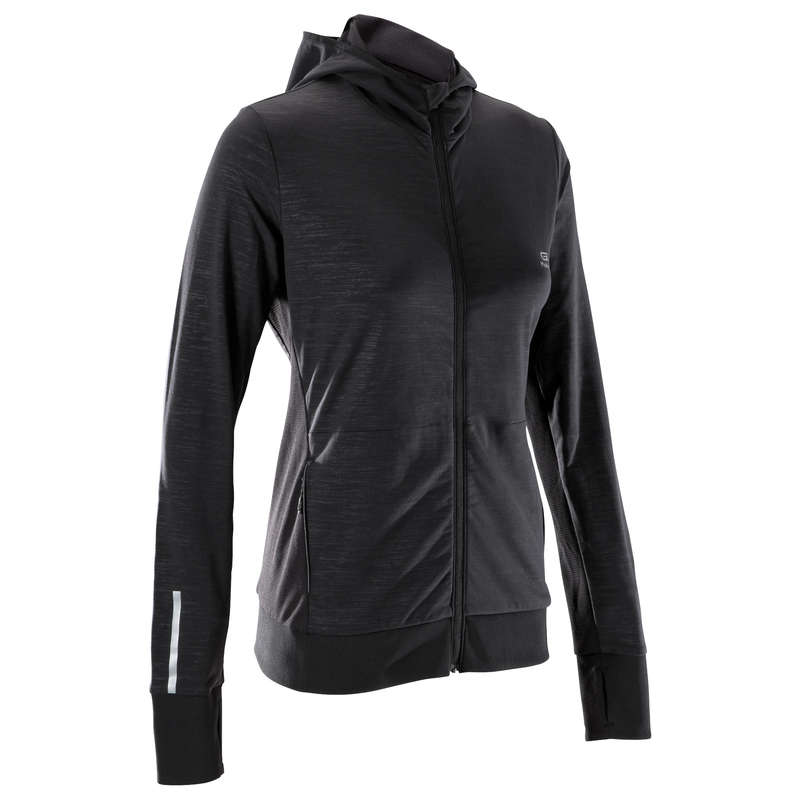 REGULAR WOMAN JOG COLD WEATHER CLOTHES Clothing - RUN WARM HOODED WOMEN'S JACKET KALENJI - Tops
