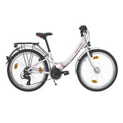 "Kinderfahrrad 24"" City Bike Decsy Wave Alu weiss/pink"