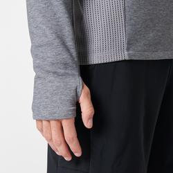 Sweat col montant jogging homme RUN WARM+ gris chiné