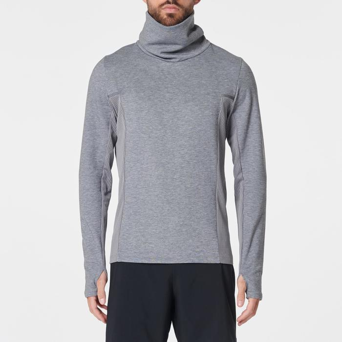 Sweat col montant jogging homme RUN WARM+ gris chiné