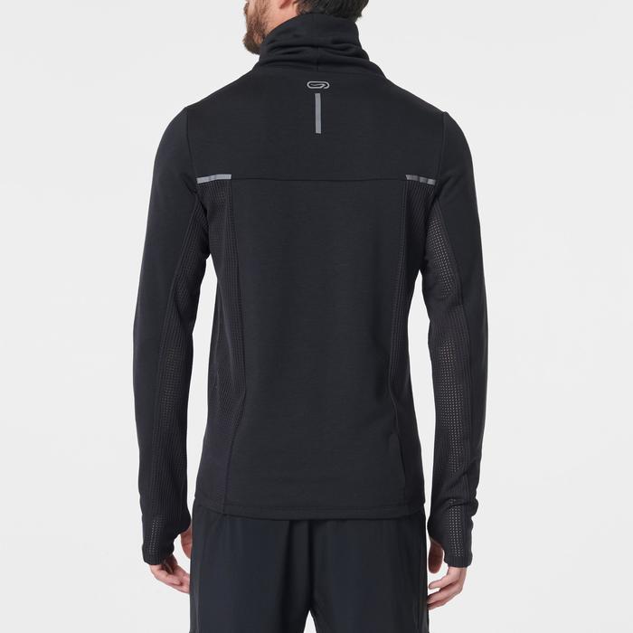 Hardloopsweater voor heren met hoge kraag Run Warm+ zwart