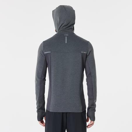 Veste jogging homme COURSE CHAUD+ gris chiné