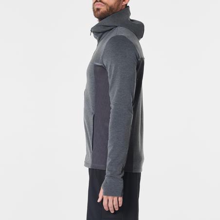RUN WARM+ JACKET men's running jacket flecked grey