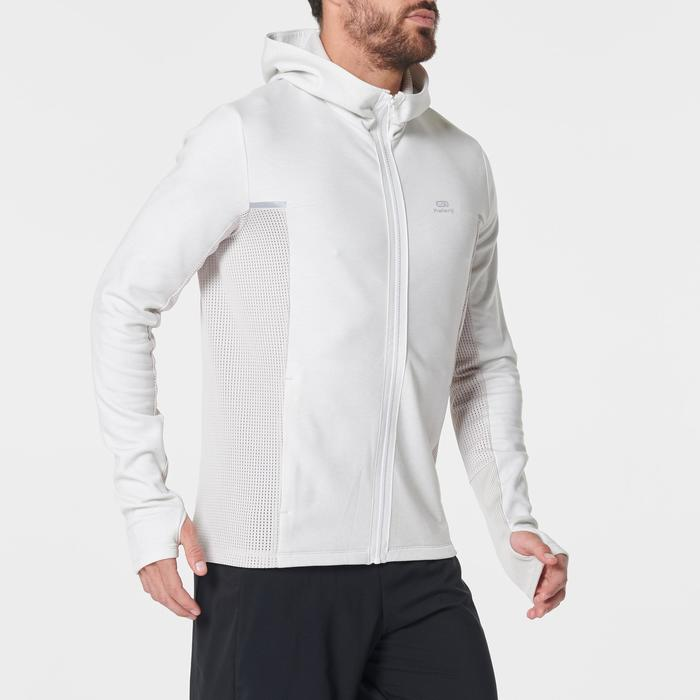 Veste jogging homme RUN WARM+ beige