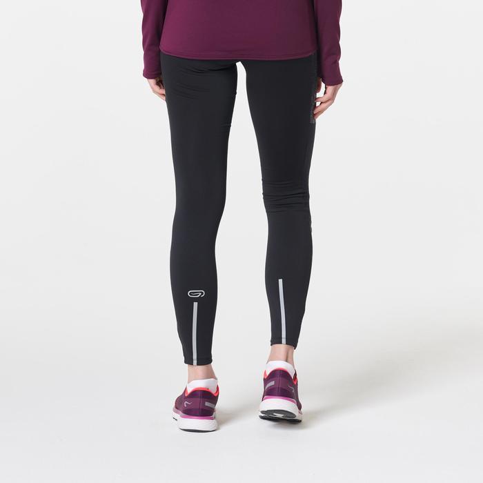 女款保暖慢跑緊身褲RUN WARM+黑色