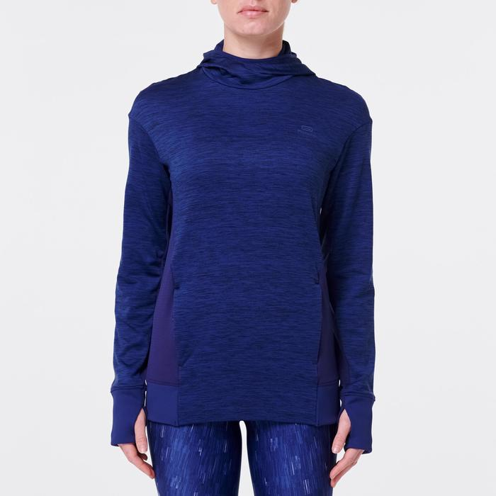 Kapuzen-Sweatshirt Run Warm Damen blau