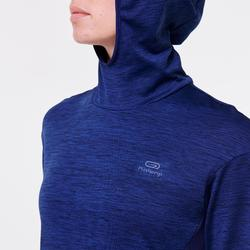 SWEAT CAPUCHE RUN WARM FEMME BLEU