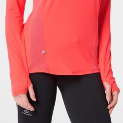 Laufshirt langarm Run Dry+ Reißverschluss Damen koralle